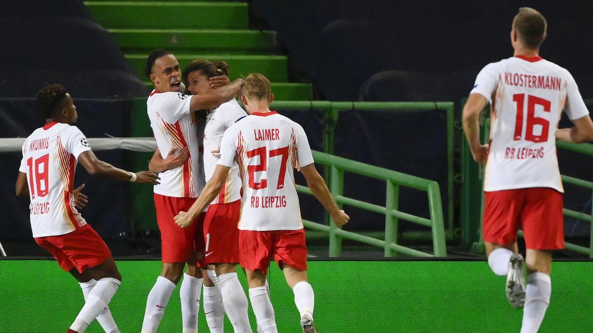 Jubel bei RB Leipzig über den Einzug in die nächste Runde der Champions League