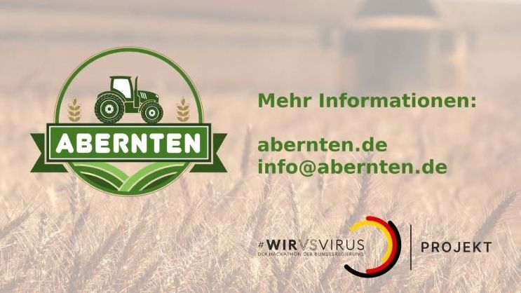 """Die Internet-Plattform """"www.abernten.de"""", auf der ein grüner Traktor abgebildet ist."""