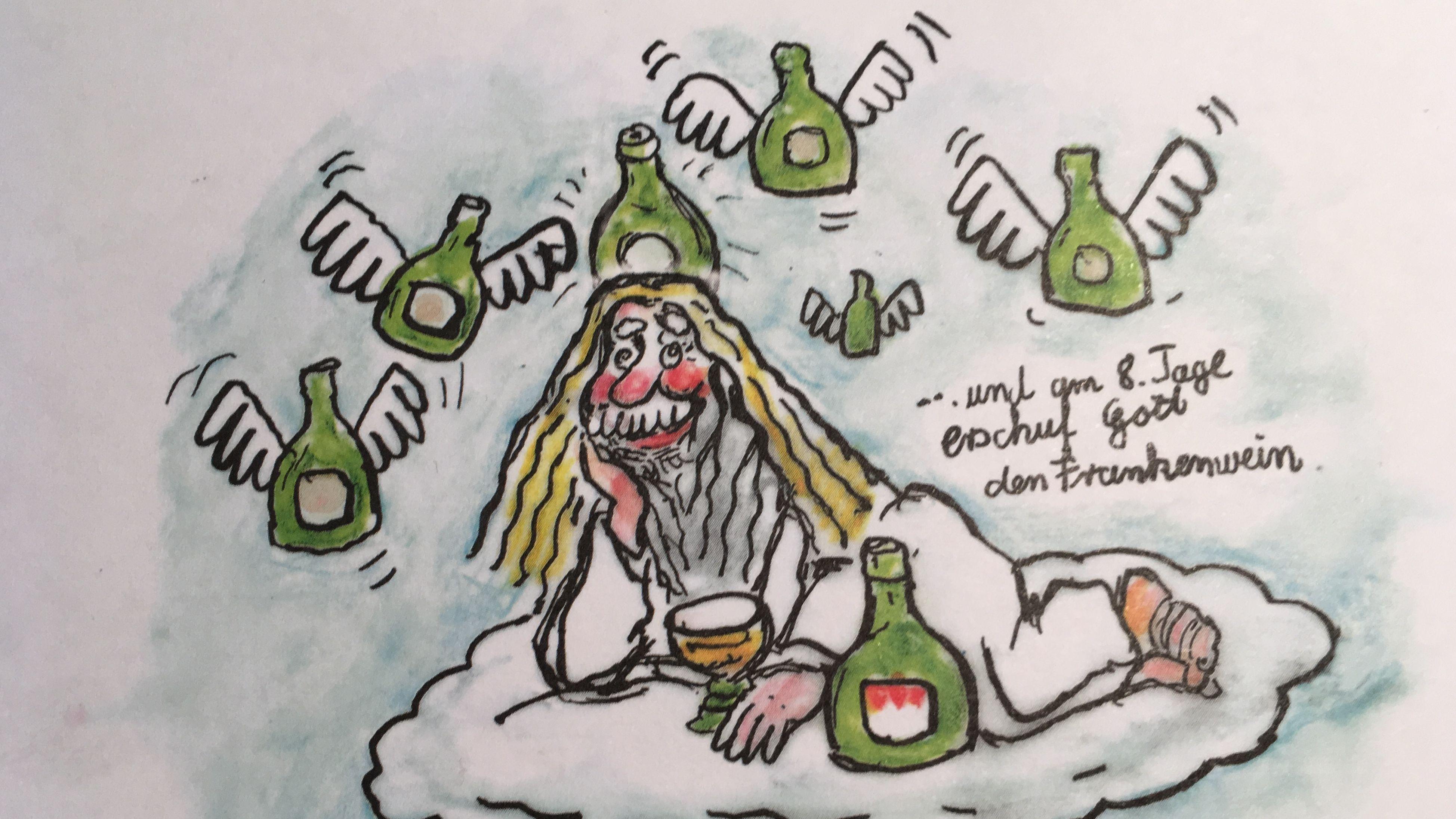 Eine Karikatur von Carlo Dernbach zeigt Gott auf einer Wolke, umgeben von Weinflaschen.