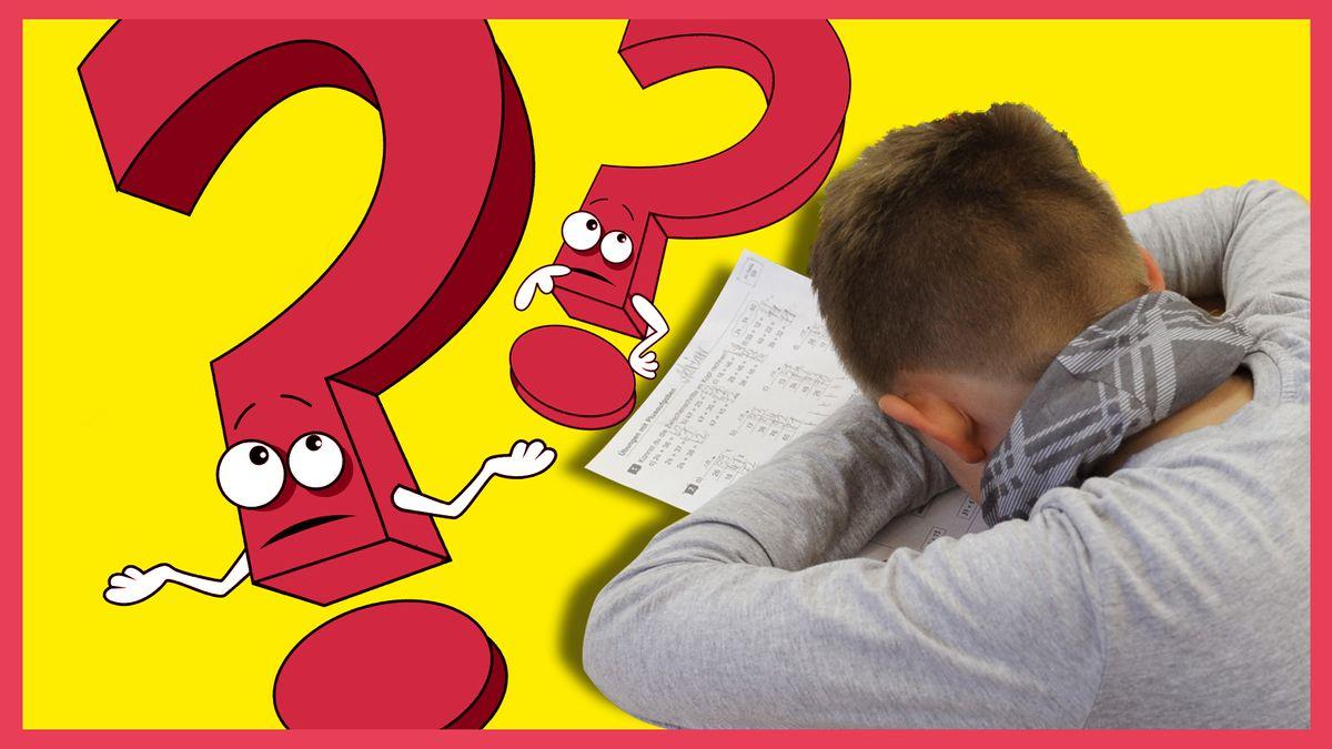 Zwei Comic-Fragezeichen zucken mit den Schultern während ein Schüler über einer Aufgabe zusammenbricht.