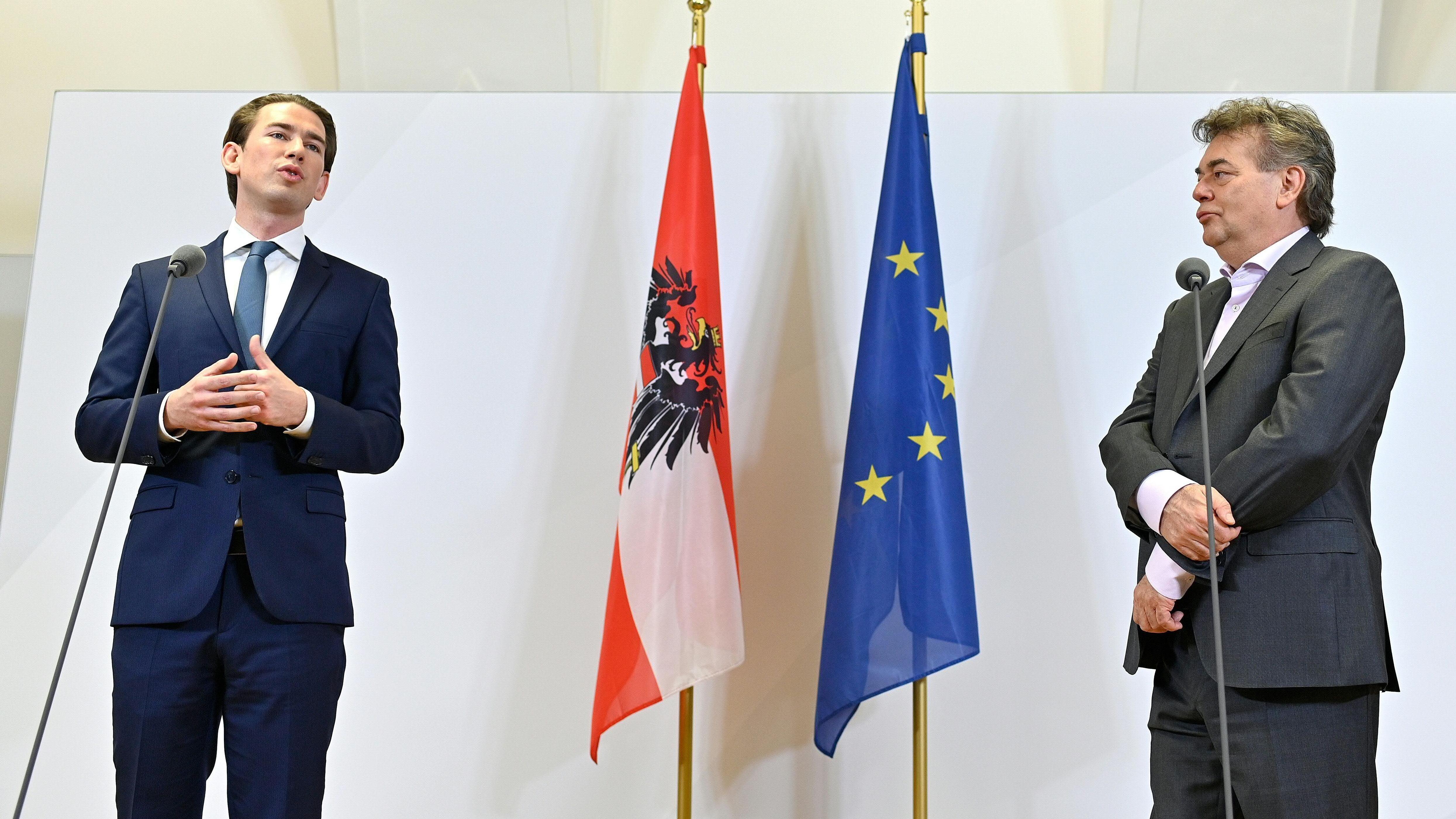 ÖVP-Chef Sebastian Kurz (l.) und Grünen-Chef Werner Kogler