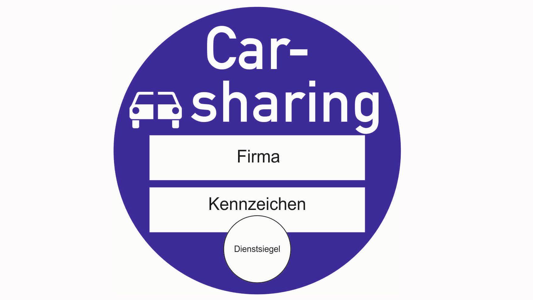 Sinnbild Plakette zur Kennzeichnung von Carsharing-Fahrzeugen