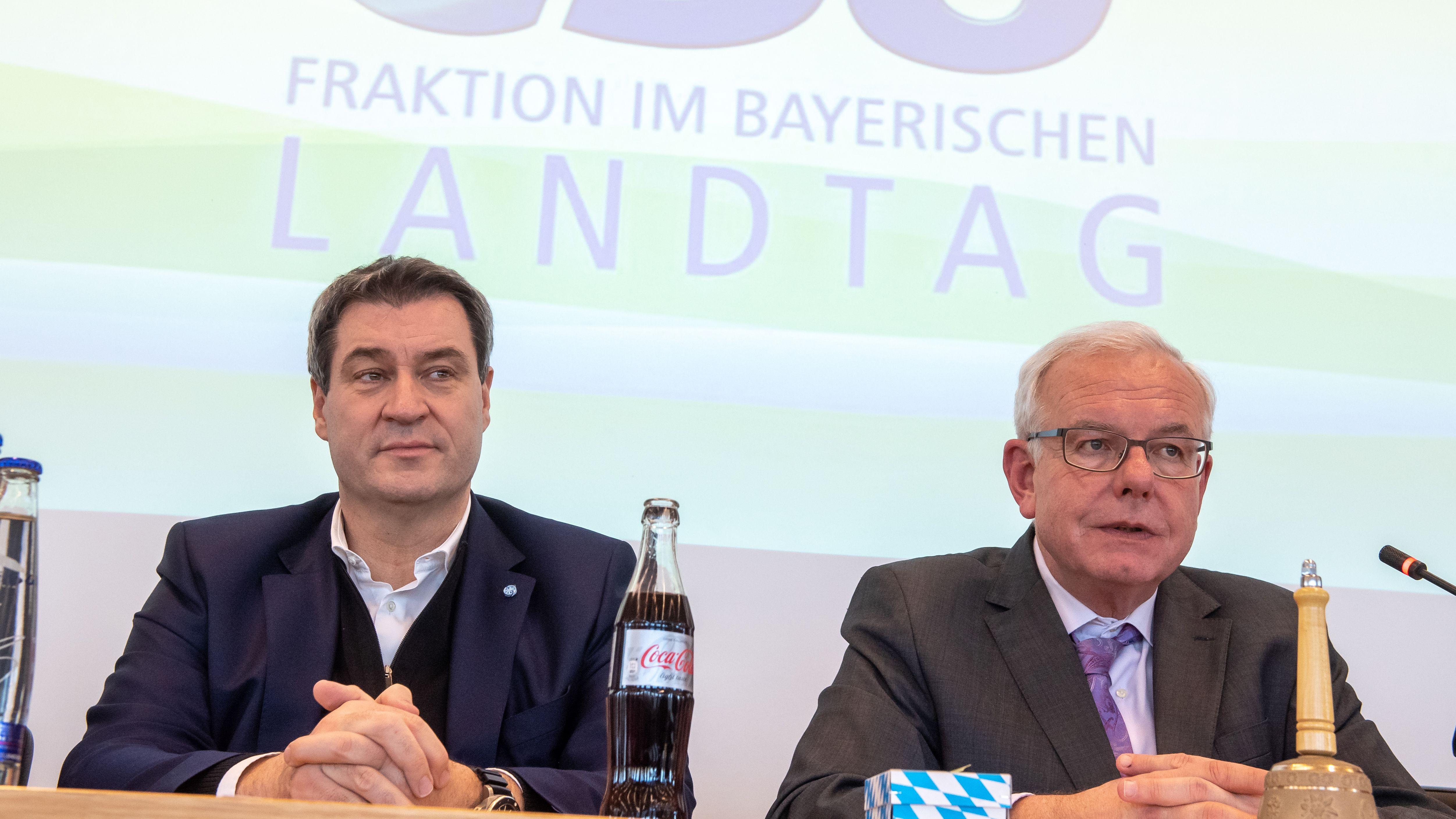 Ministerpräsident Markus Söder und CSU-Fraktionschef Thomas Kreuzer bei einer Fraktionssitzung am 20. März 2019