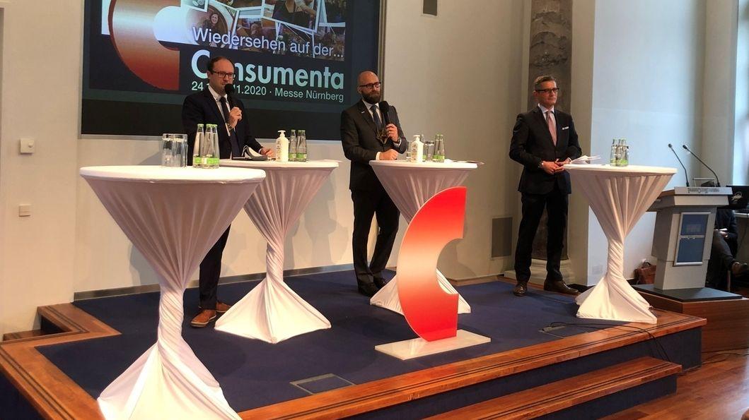 Pressekonferenz Consumenta 2020 mit Henning (li), Thilo Könicke (Mitte), Michael Fraas (re.)