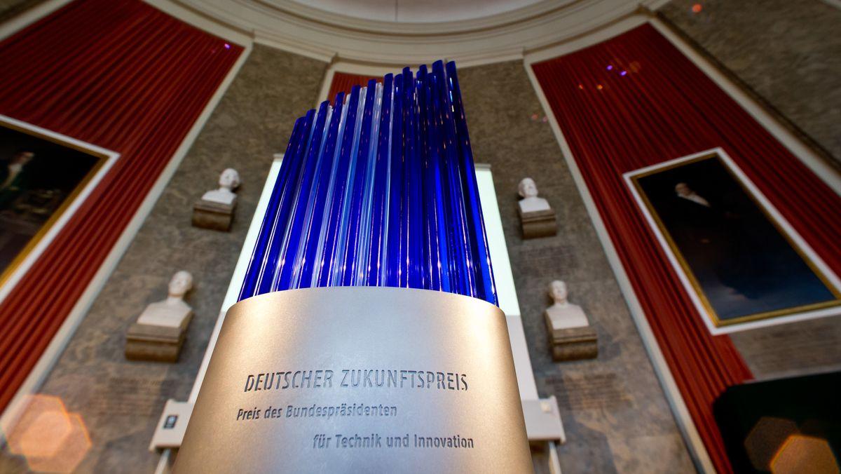 Die Trophäe des Deutschen Zukunftspreises im Deutschen Museum in München