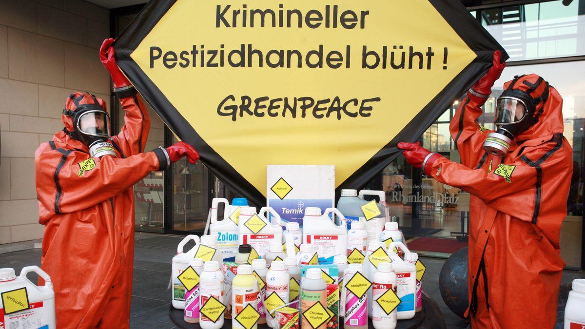 Greenpeace demonstriert gegen illegalen Handel mit Pestiziden