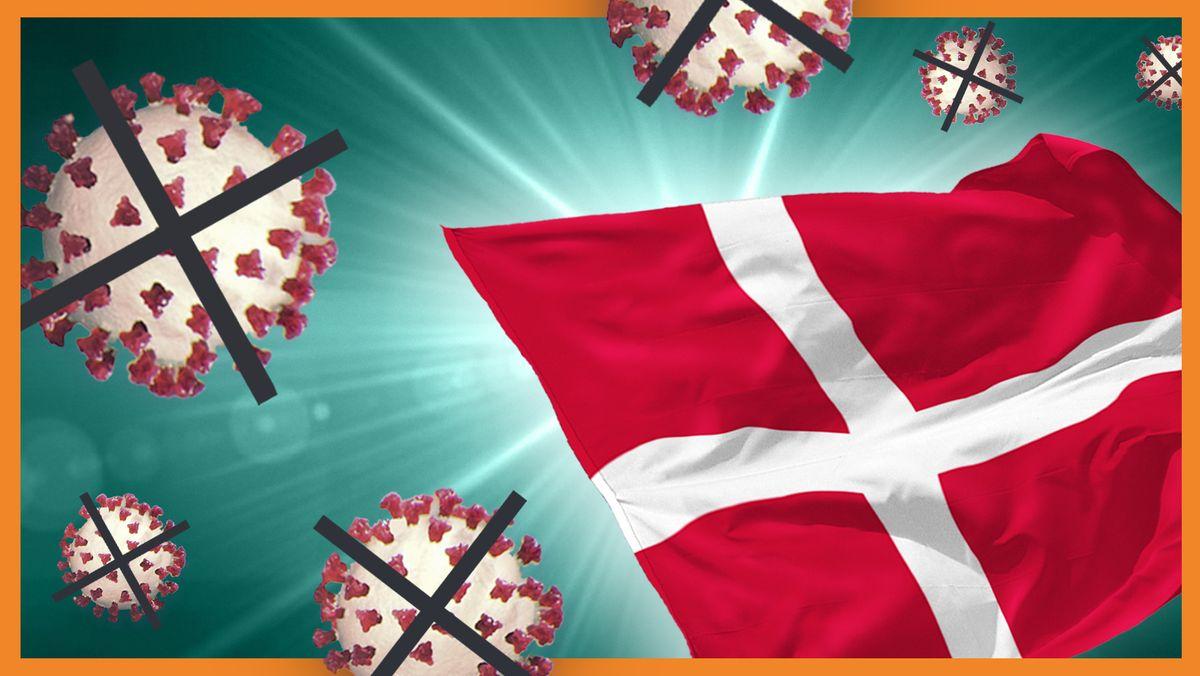 Die Flagge Dänemarks umringt von durchgestrichenen Coronaviren.