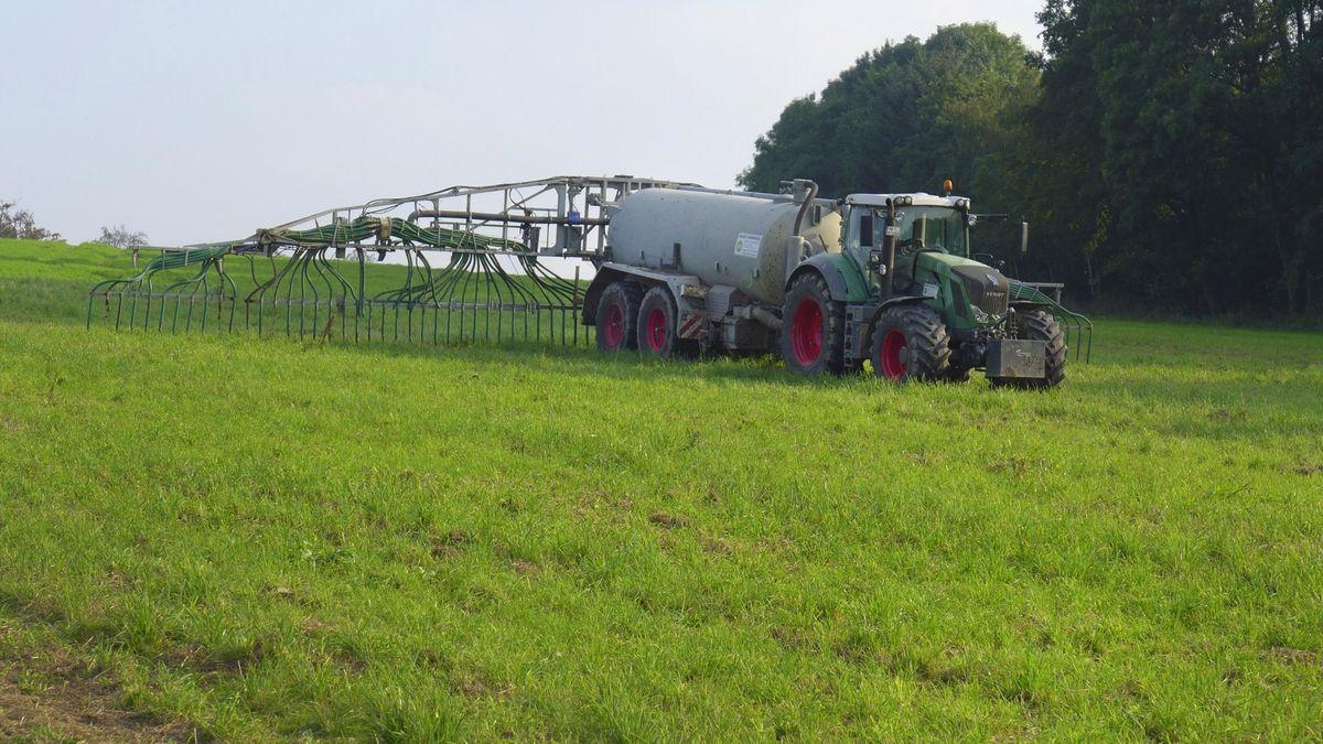 Traktor mit Güllefass auf Feld
