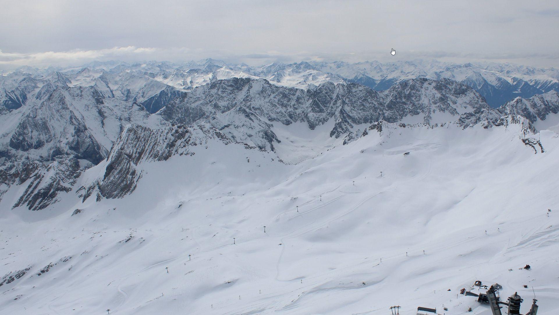 Zugspitzgipfel-Blick nach Süden