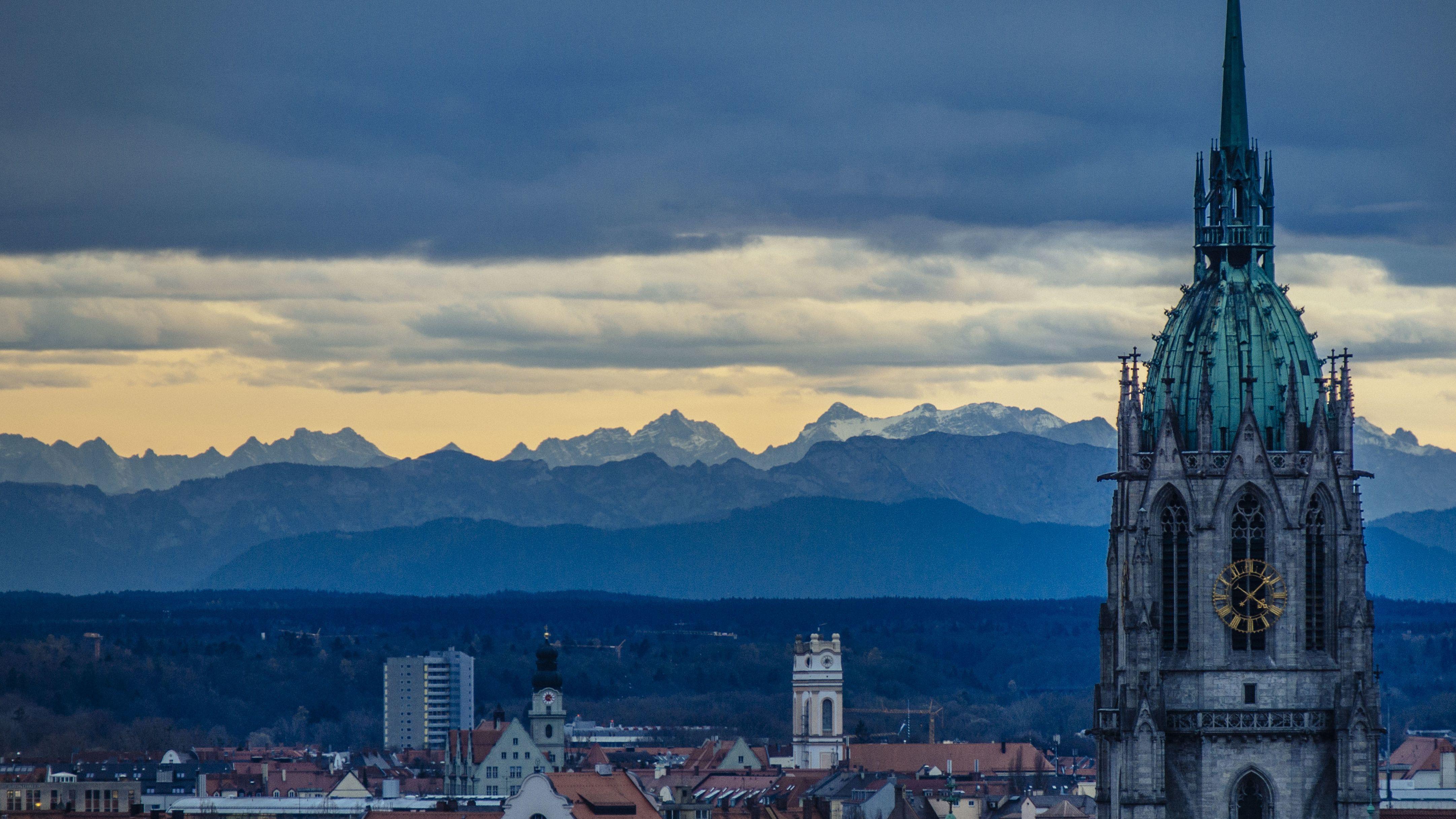Blick aus dem Hochhaus des Bayerischen Rundfunks in München.