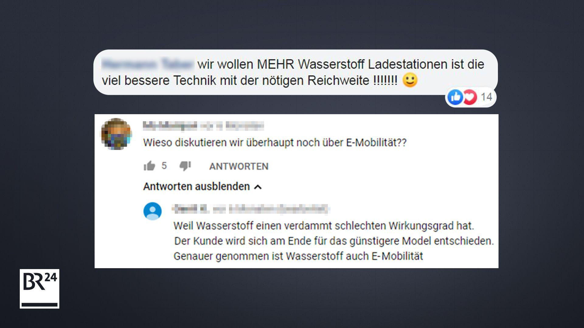Kommentare von Nutzern auf Facebook und Youtube zum Wasserstoff als Antrieb.
