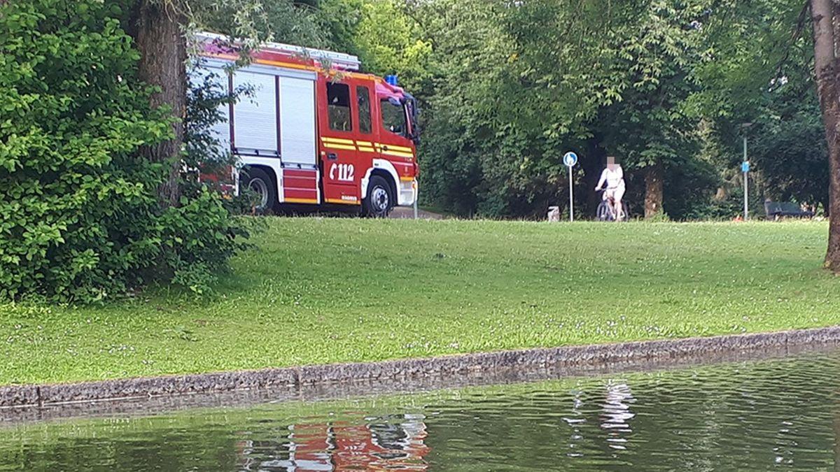 Ungewöhnlicher Einsatz der Münchner Berufsfeuerwehr am Westpark,