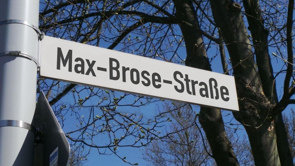 Auf einem Straßenschild Steht Max-Brose-Straße, im Hintergrund Bäume.