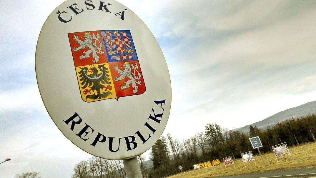 Schild an der Grenze zu Tschechien