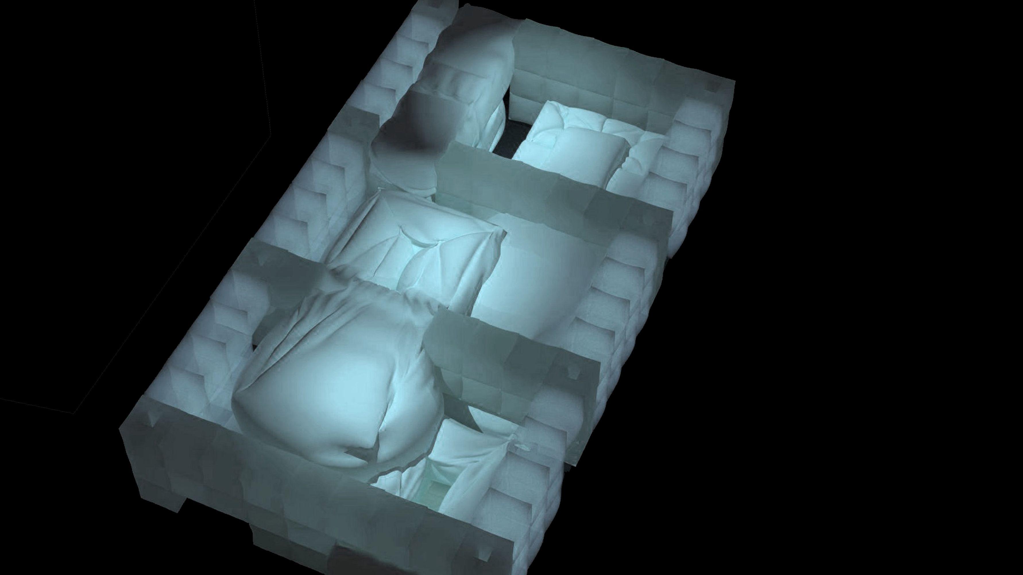 """""""Sensefactory"""" im Entwurf: Draufsicht auf eine weiße Luftkissen-Architektur (Computergrafik)"""