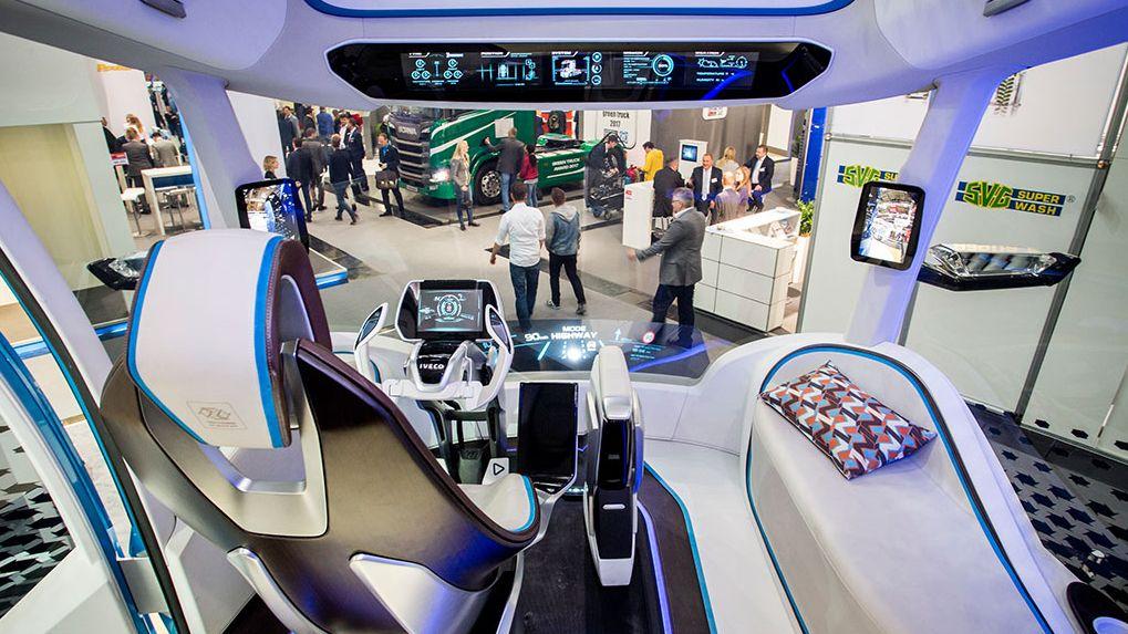 Biogas-Truck von Iveco auf der Messe Transport Logistic.
