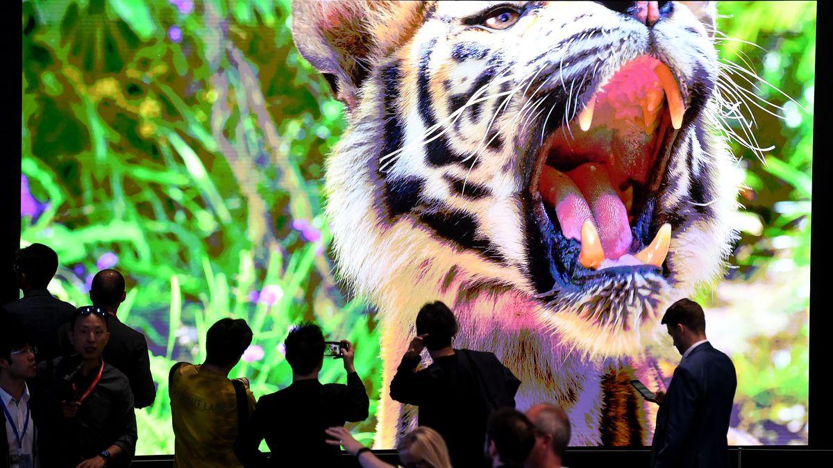 Besucher auf der Technik-Messe IFA, der weltweit größten Fachmesse für Unterhaltungs- und Gebrauchselektronik am Stand von Samsung.