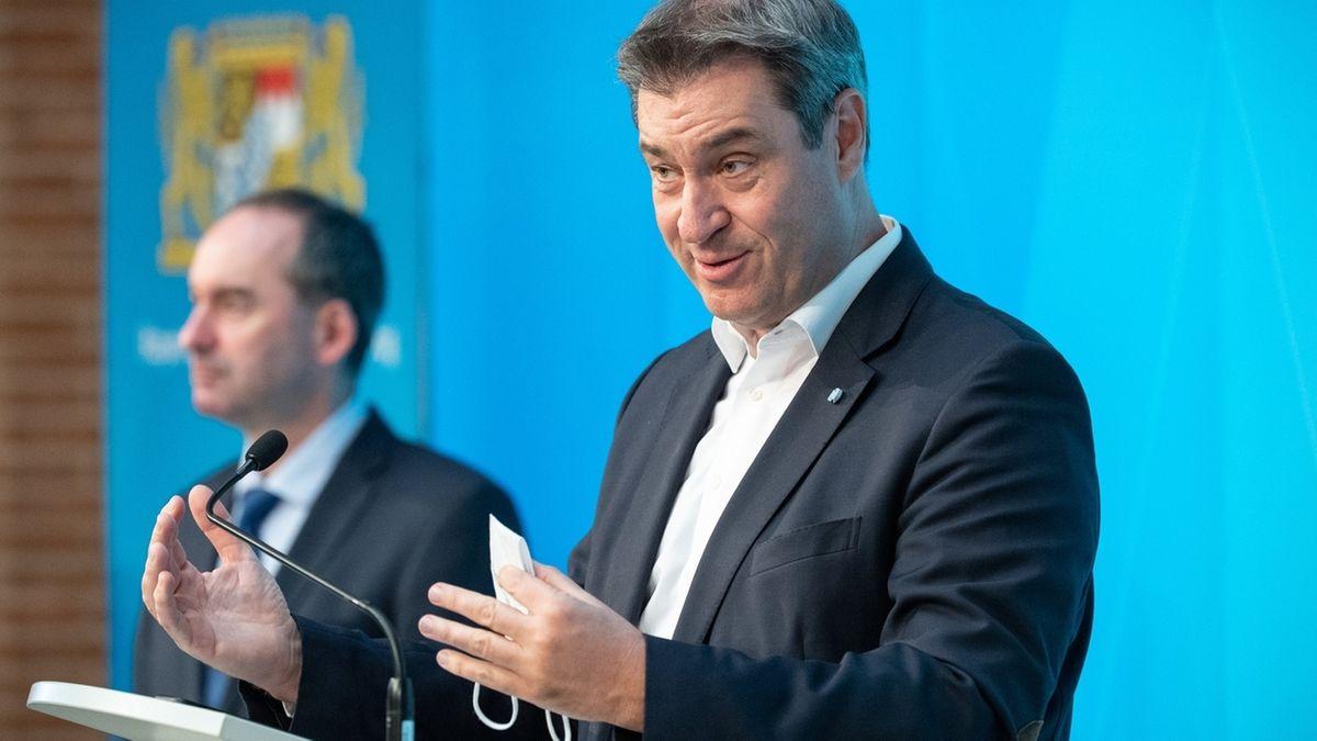 Bayerns Ministerpräsident Markus Söder spricht auf einer Pressekonferenz