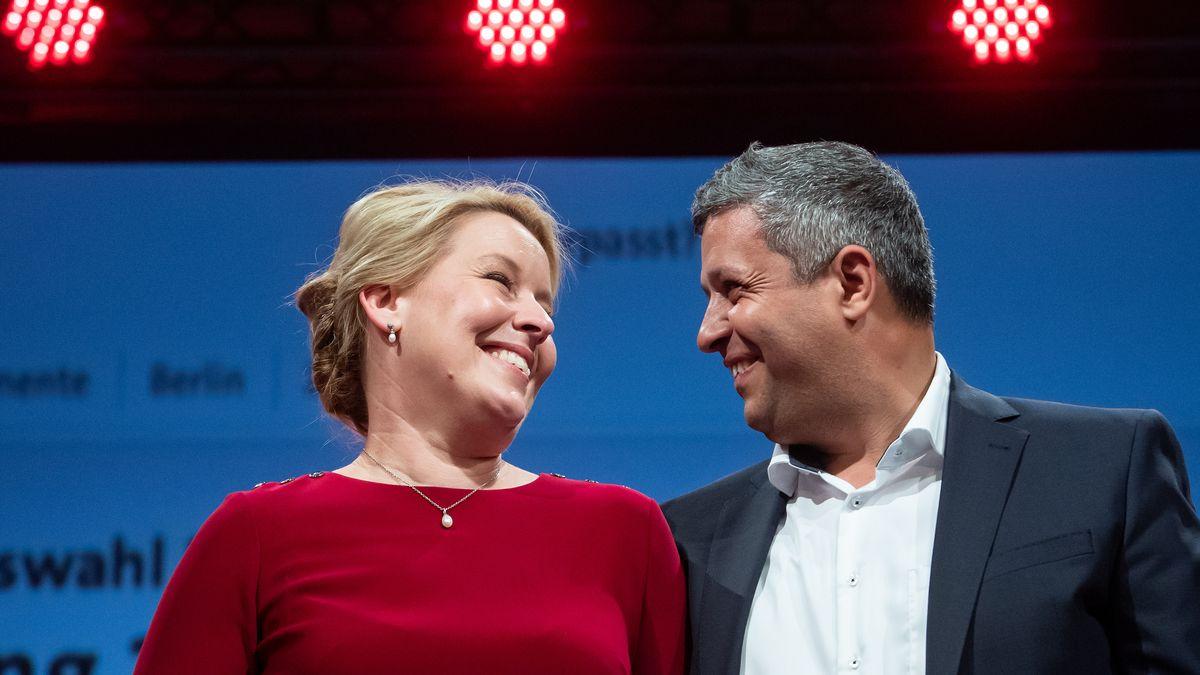 Franziska Giffey, Spitzenkandidatin der Berliner SPD für das Amt der Regierenden Bürgermeisterin, und Raed Saleh, Co-Parteivorsitzender der Berliner SPD