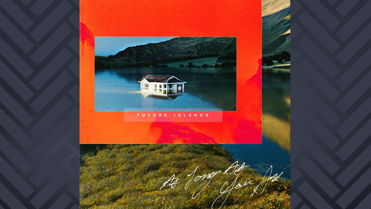 """""""As Long As You Are"""" von Future Islands: Foto eines halb im Wasser stehenden Hauses in einer Fjordlandschaft"""
