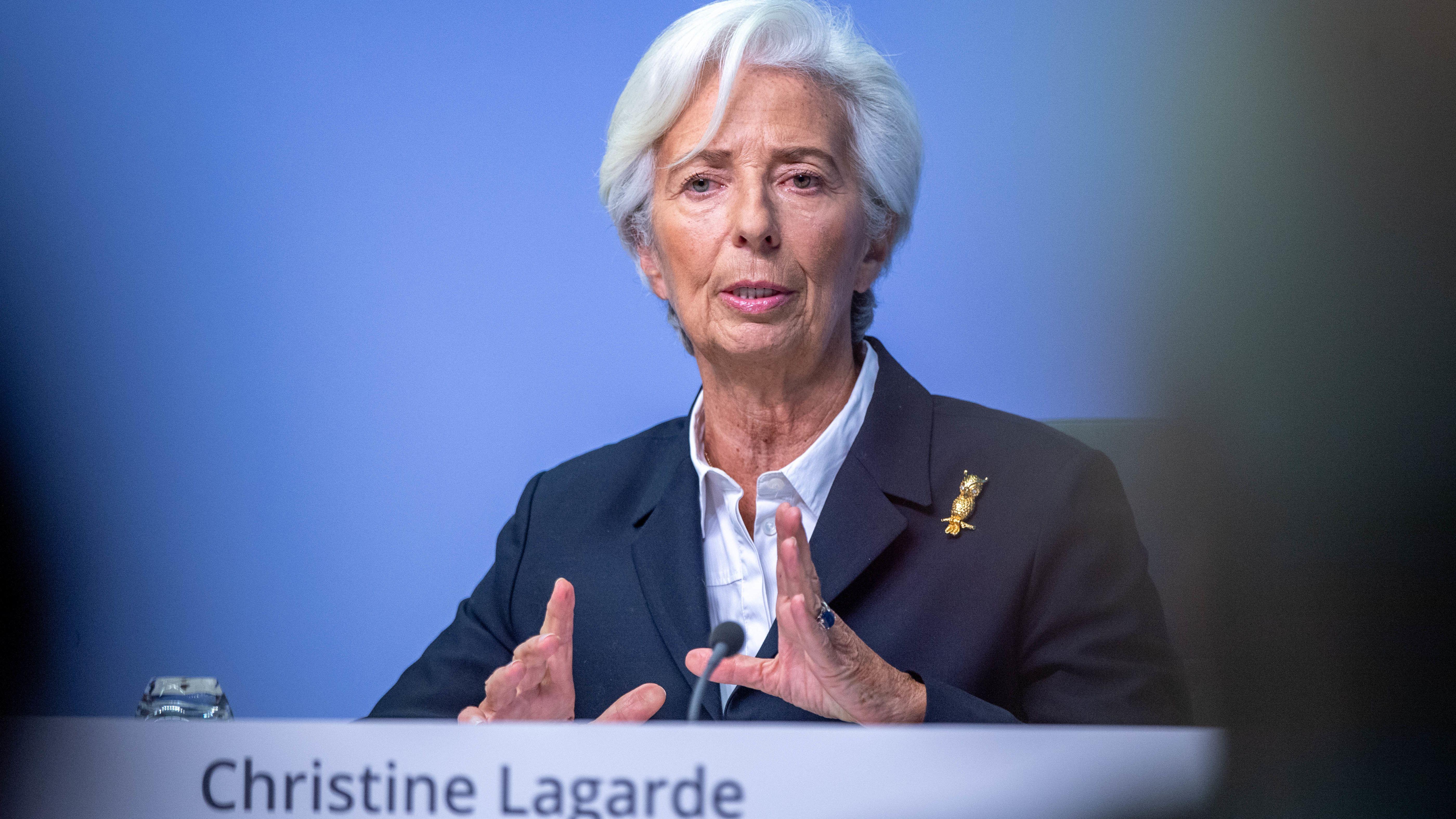 EZB-Präsidentin Christine Lagarde bei der Pressekonferenz der EZB am 23.01.20