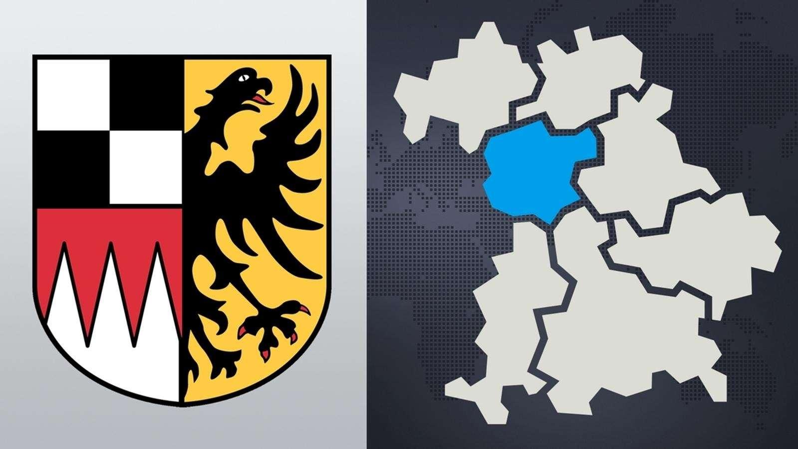 Wappen und Kartenausschnitt von Mittelfranken