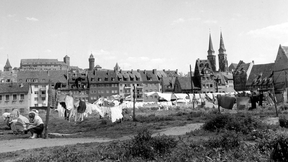 Schwarzweiß-Bild von Nürnberg