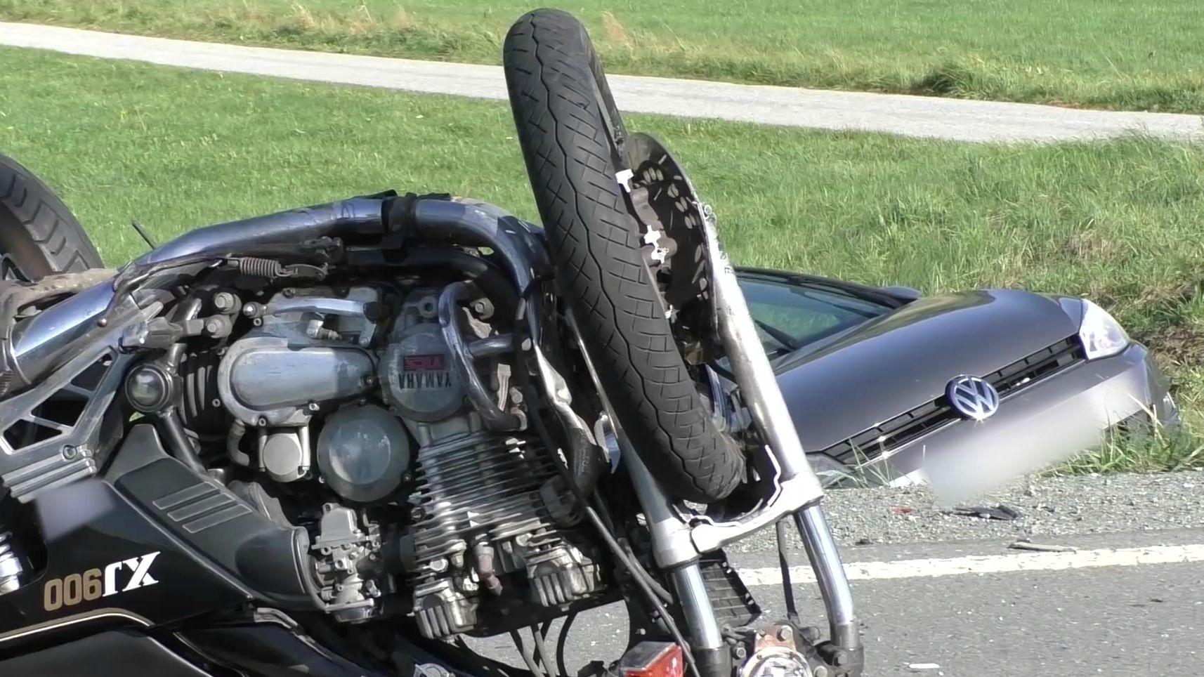Verunglücktes Motorrad bei Goldkronach im Landkreis Bayreuth