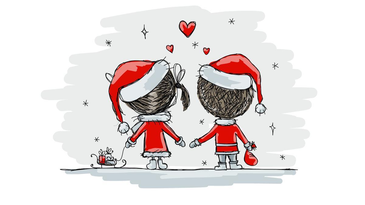Gezeichnetes Pärchen in Weihnachtsmann-Montur. Auswertung von Internetaktivitäten weltweit haben gezeigt, dass in der Weihnachtszeit mehr Interesse an Sex besteht und die Geburtenrate im September entsprechend höher ist.