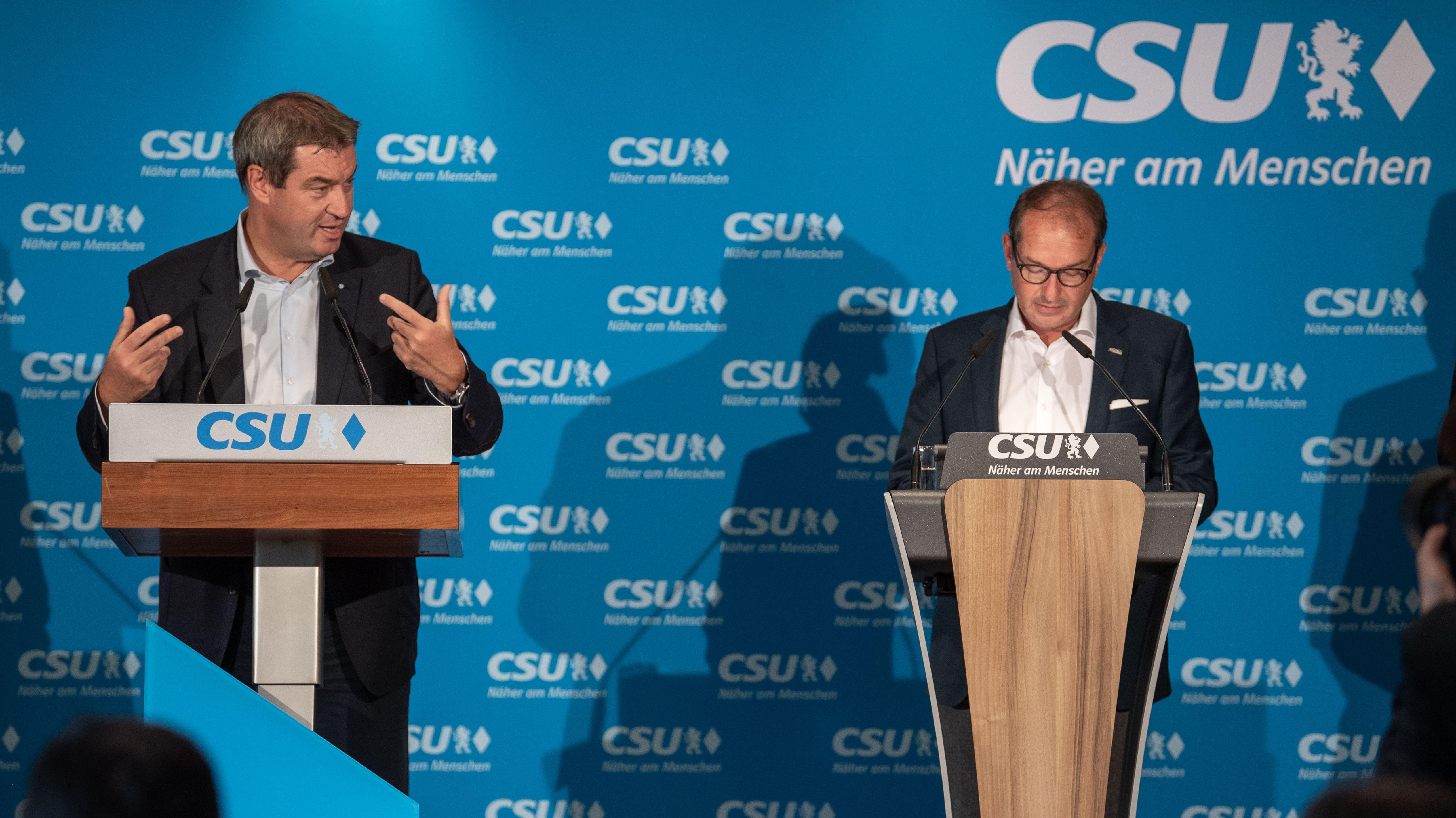 CSU-Chef Markus Söder und CSU-Landesgruppenchef Alexander Dobrindt bei einer Vorstandsklausur am 7. September 2019 in Weßling