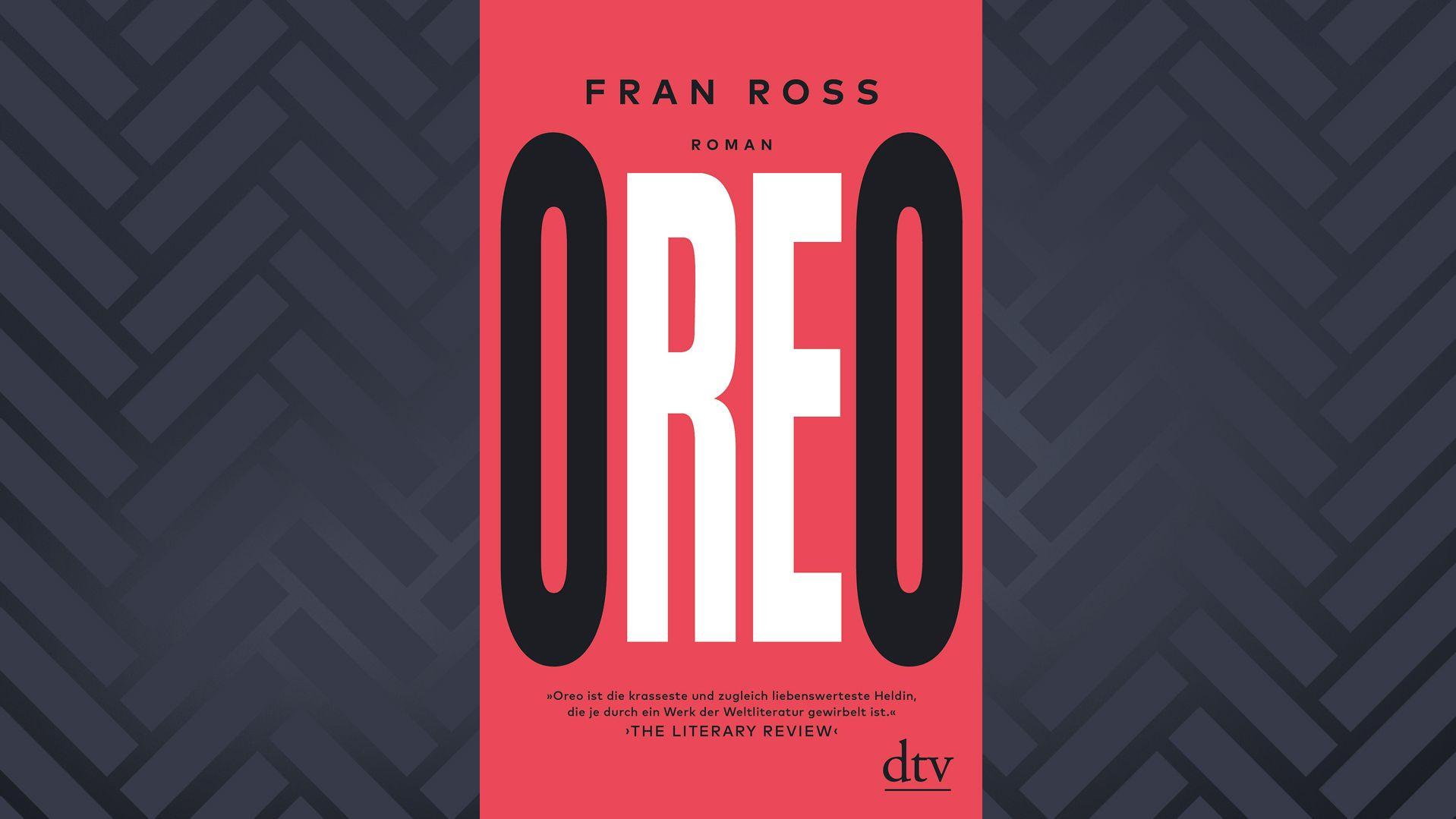 """Buchcover """"Oreo"""" von Fran Ross: Schwarz-weiße Schrift auf rotem Grund"""