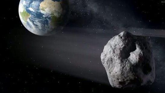 Symbolbild: Künstlerische Darstellung eines erdnahen Asteroiden im Vorbeiflug