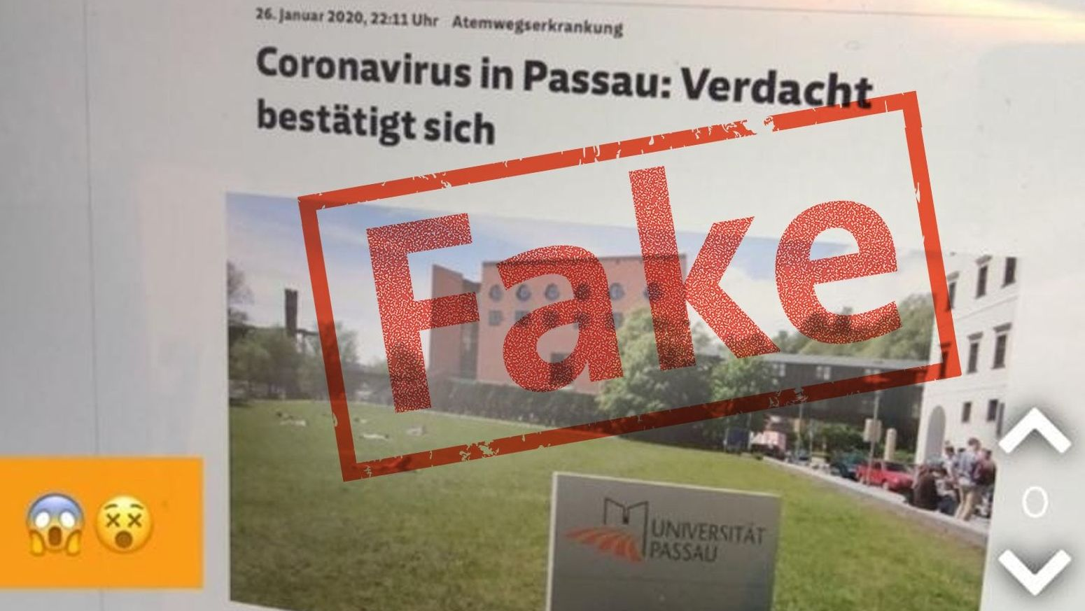 """Screenshot der Falschmeldung mit dem Button """"Fake"""""""