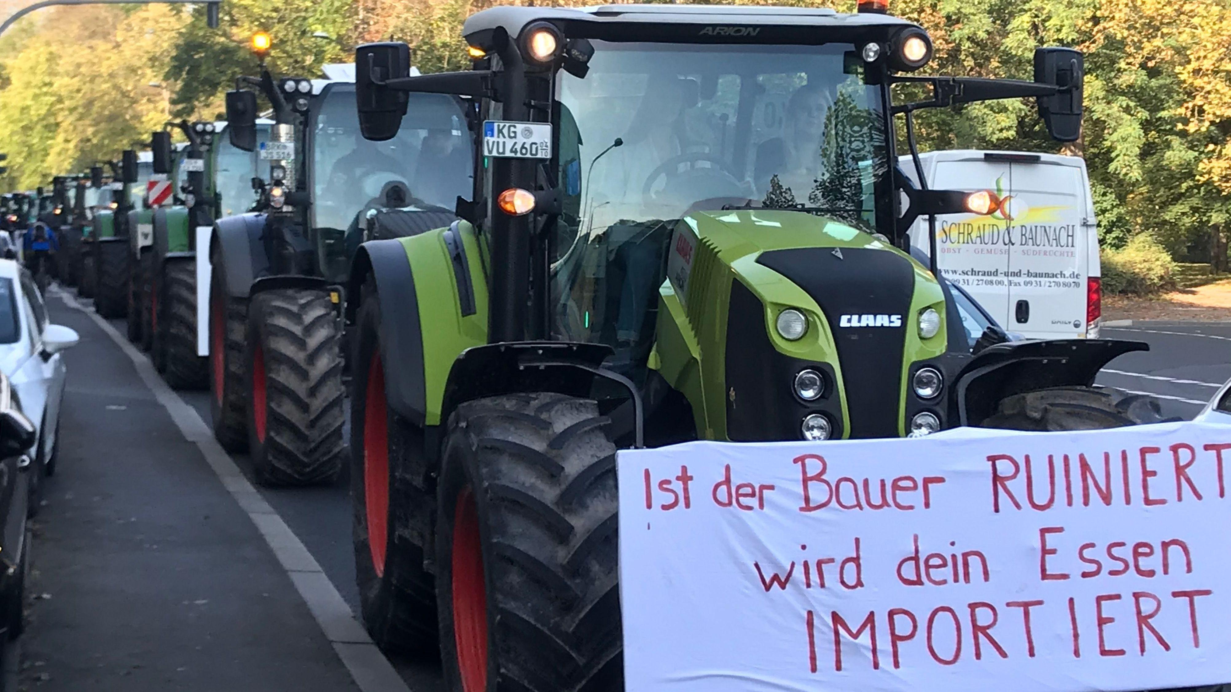 Traktoren-Demo in Würzburg