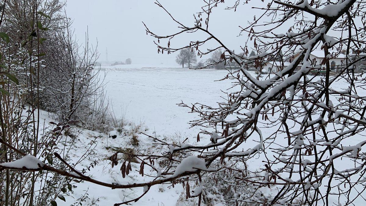 Verschneite Landschaft am Dreikönigstag in Gelting im Landkreis Ebersberg
