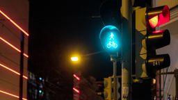 Eine grüne Fußgänger-Ampel bei Nacht.   Bild:BR/Johanna Schlüter