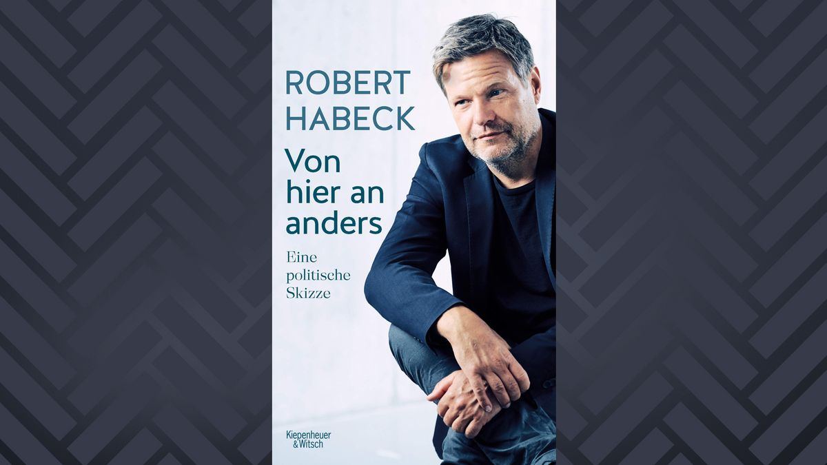 """Buchcover Robert Habeck """"Von hier an anders. Eine politische Skizze"""" mit Foto des auf dem Boden sitzenden Habeck"""