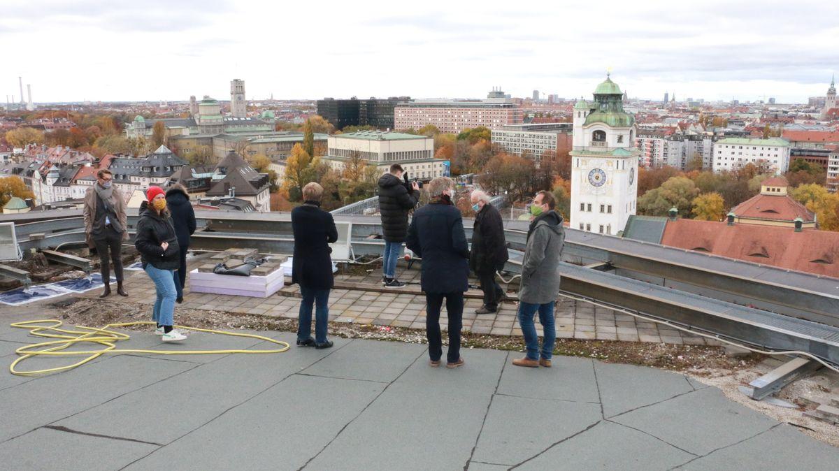 Blick auf die Stadt München von Dach des Gasteigs aus.