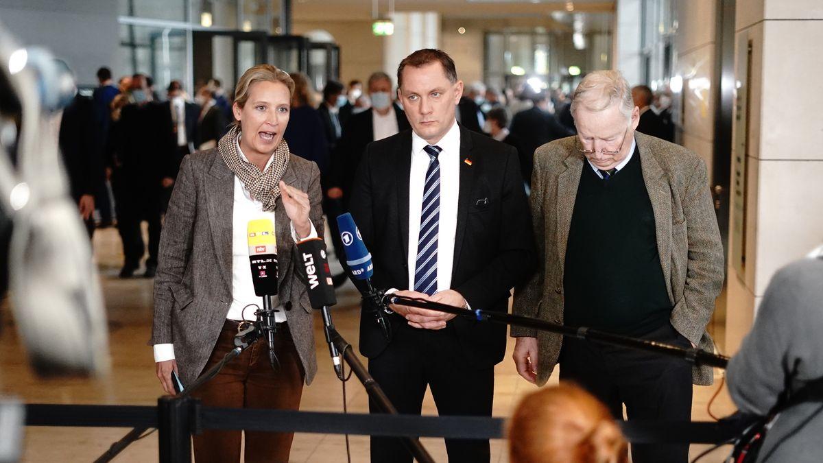 Die beiden AfD-Fraktionsvorsitzenden Alice Weidel und Alexander Gauland (rechts) mit Tino Chrupalla, Bundessprecher der AfD (Mitte).