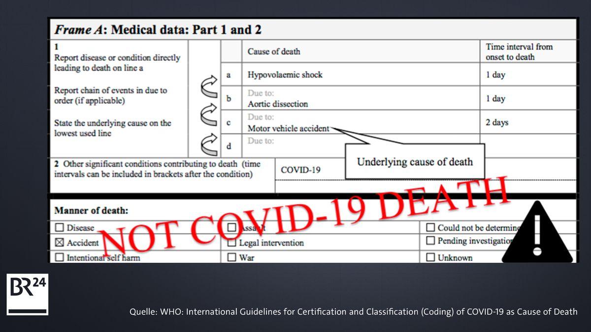 Internationales Todesbescheinigungs-Formular: kein Covid-19-Tod