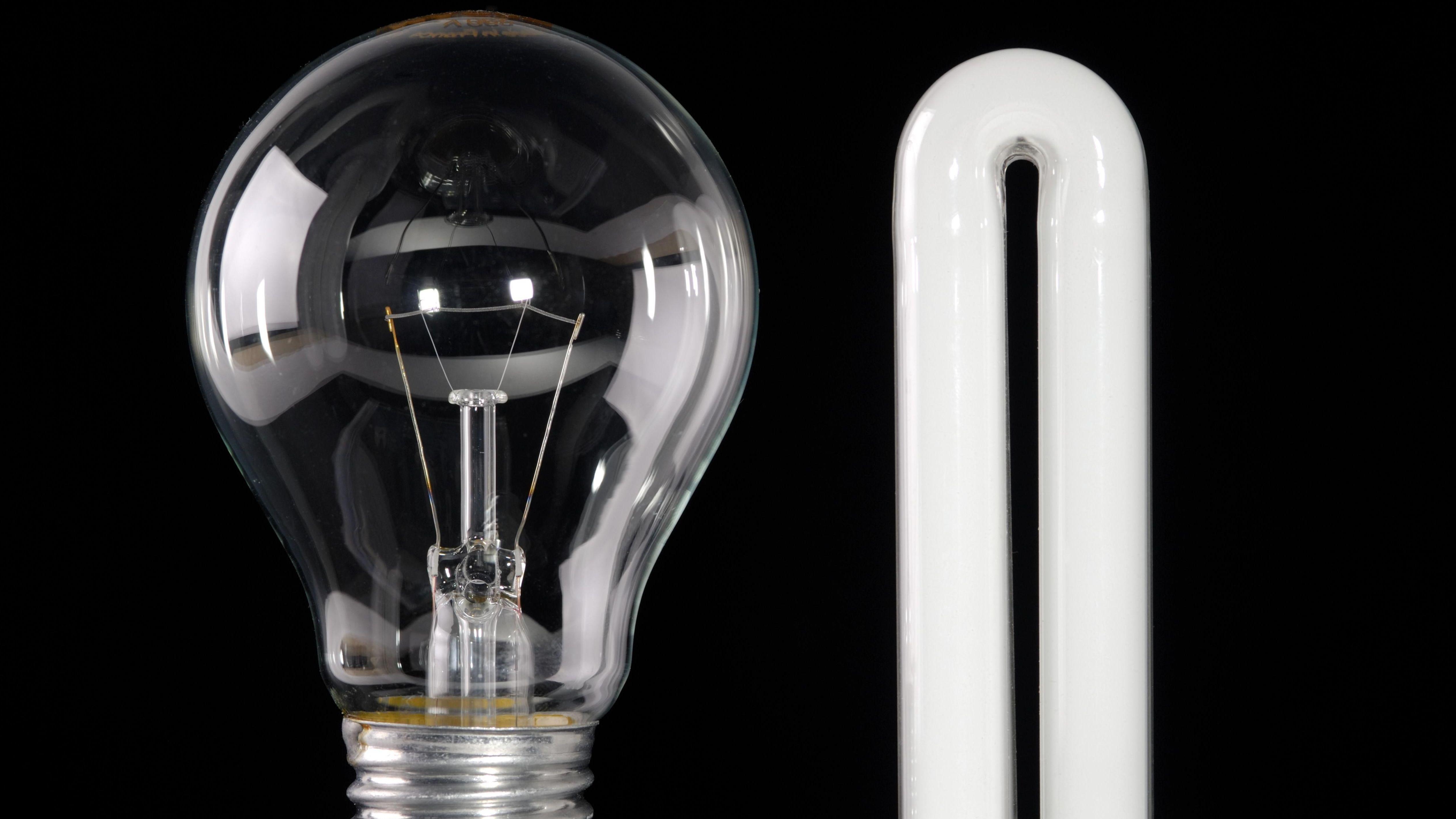 Eine Glühbirne und eine Energiesparbirne.