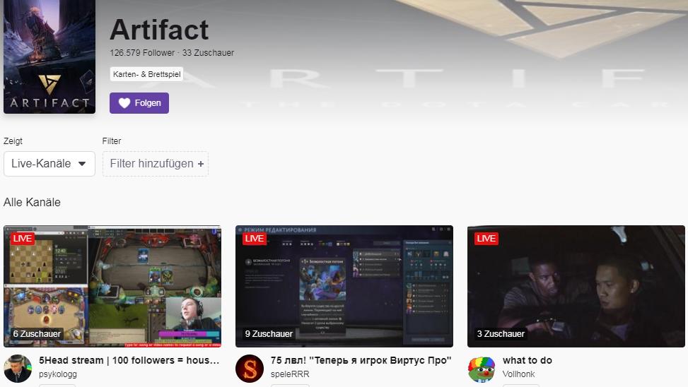 Twitch-Kanal zum Spiel Artifact.