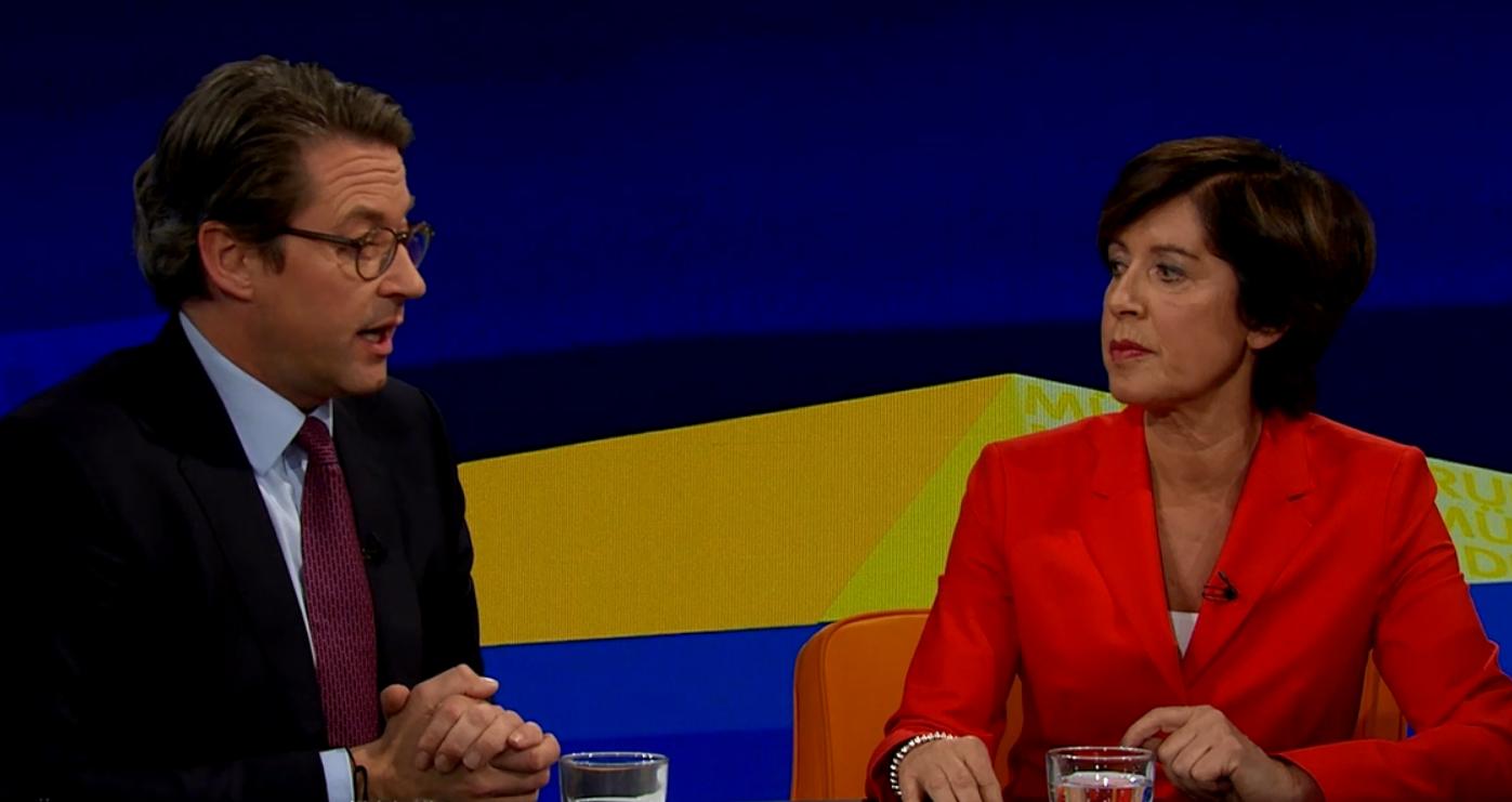Verkehrsminister Andreas Scheuer (CSU) diskutiert in der Münchner Runde vom 13. November 2019 mit Moderatorin Ursula Heller zum Thema Nahverkehr.