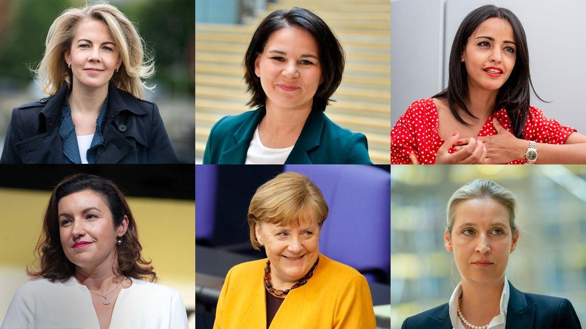 Fotos von Linda Teuteberg (FDP), Annalena Baerbock (Grüne), Sawsan Chebli (SPD), Dorothee Bär (CSU), Angela Merkel (CDU) und Alice Weidel (AfD)