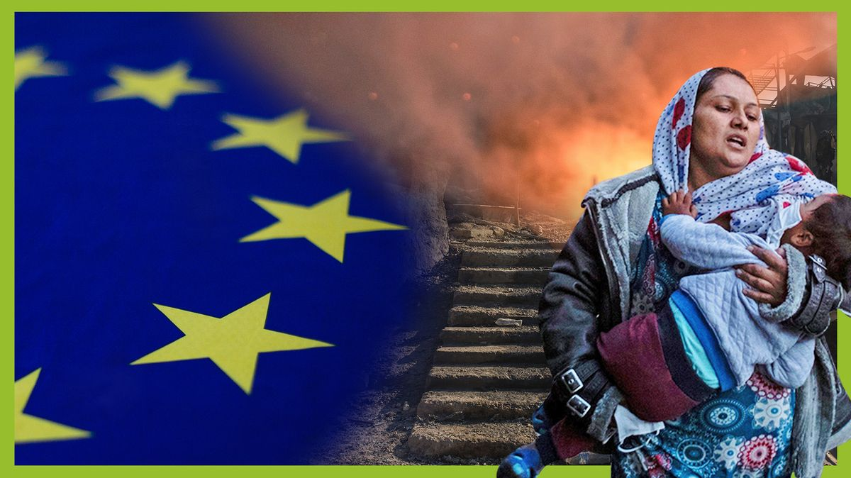 Eine Frau mit Kind im Arm, hinter ihr Flammen, daneben die Flagge der Europäischen Union.