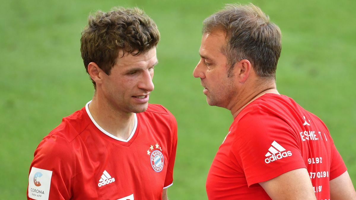 Thomas Müller und FC Bayern-Trainer Hansi Flick