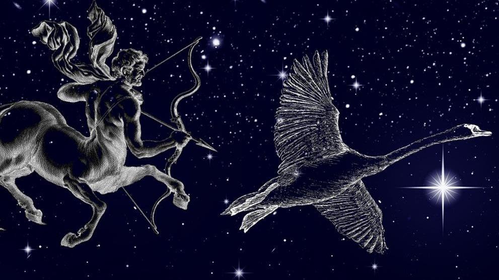 symbolische Darstellung der Sternilder Schütze und Skorpion vor dem Sternenhimmel