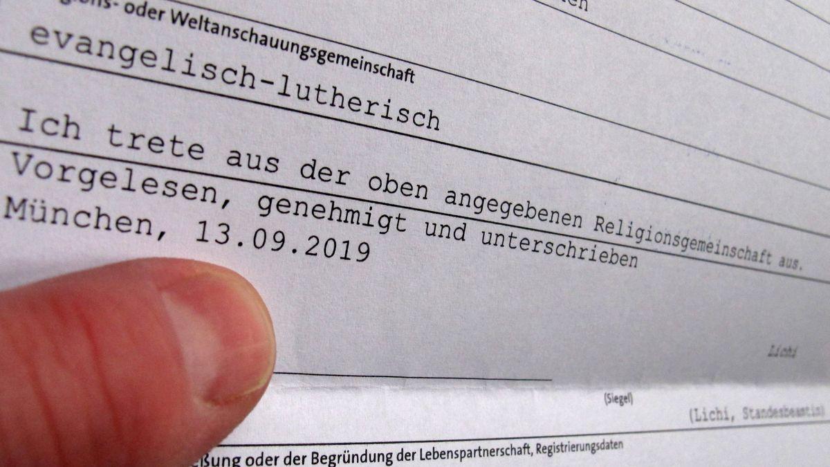 Formular für einen erfolgten Austritt aus der evangelischen Kirche in München