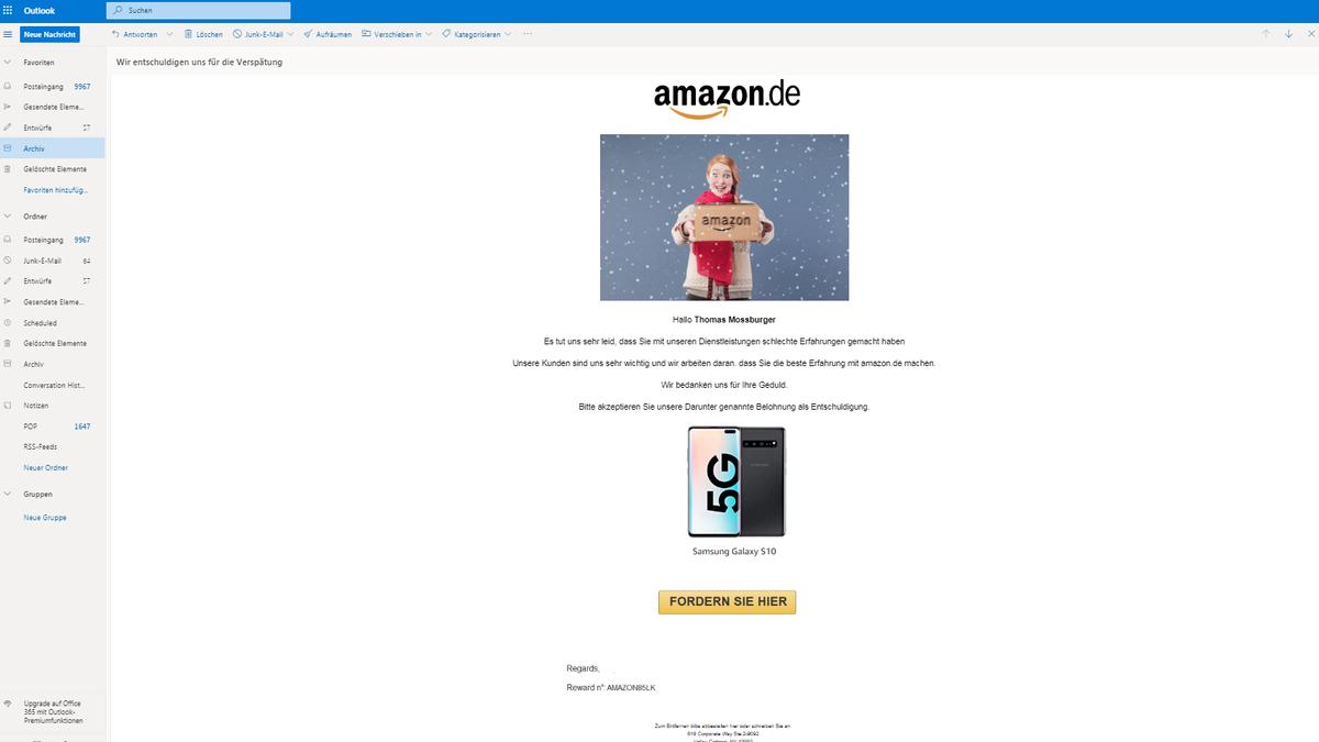 Die Fake-E-Mail wirkt (fast) täuschend echt: Sogar ein weihnachtliches Bild von einem Modell mit Amazon-Paket ist eingebaut.