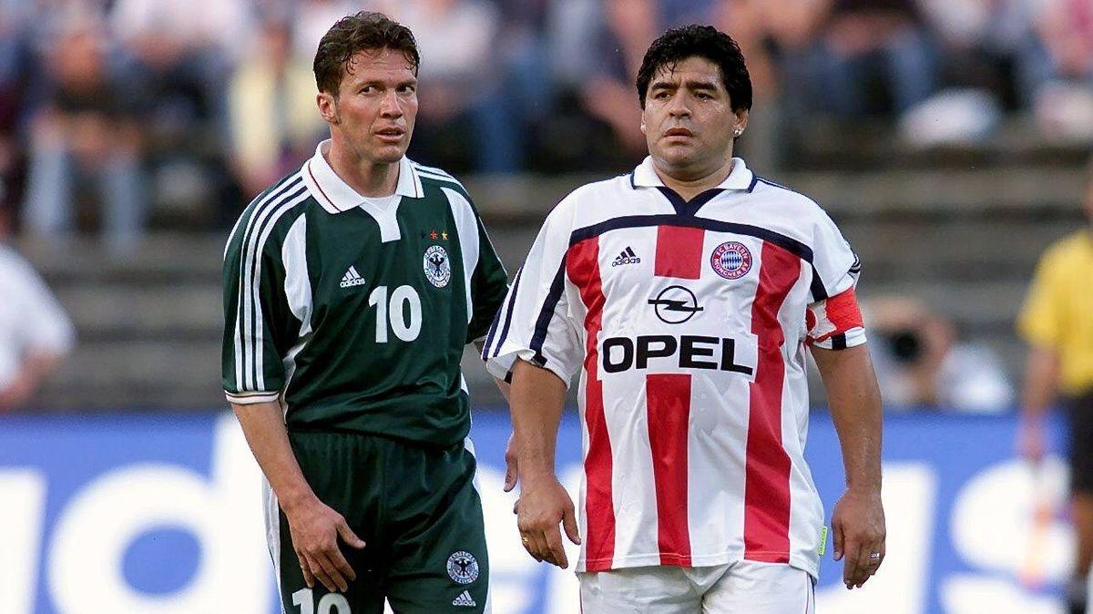Maradona (rechts) beim Lothar-Matthäus-Abschiedsspiel 2020
